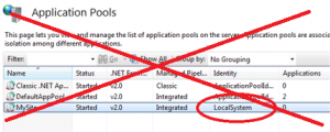 IIS application pools listing