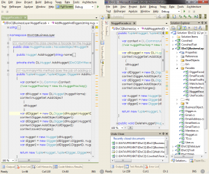 Visual studio with and without extra maximized state.