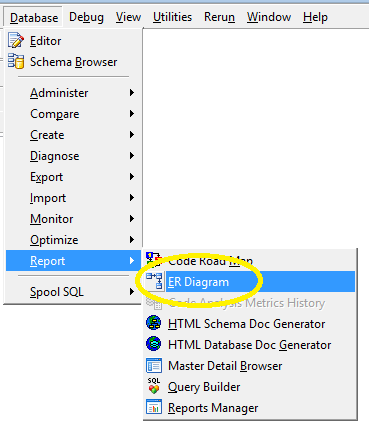How to open and edit an erx er diagram file in toad selfelected er diagram menu in toad ccuart Gallery