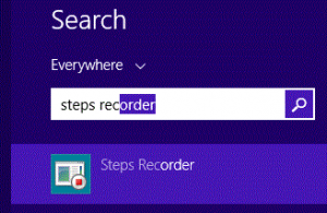 Steps recorder in start menu